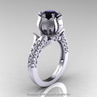Classic 14K White Gold 1.0 Ct Black and White Diamond Solitaire Wedding Ring R410-14KWGDBD-1