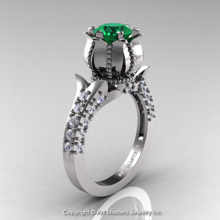 Classic 14K White Gold 1.0 Ct Emerald  Diamond Solitaire Wedding Ring R410-14KWGDEM-1