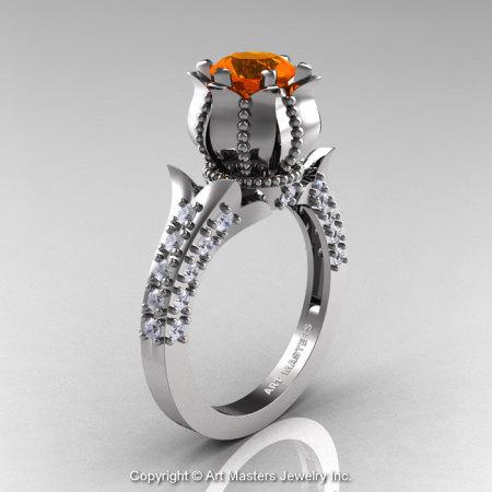 Classic 14K White Gold 1.0 Ct Orange Sapphire Diamond Solitaire Wedding Ring R410-14KWGDOS-1