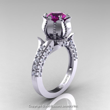 Classic 14K White Gold 1.0 Ct Amethyst Diamond Solitaire Wedding Ring R410-14KWGDAM-1