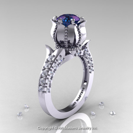 Classic 14K White Gold 1.0 Ct Alexandrite Diamond Solitaire Wedding Ring R410-14KWGDAL-1