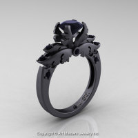 Classic Angel 14K Matte Black Gold 1.0 Ct Black Diamond Solitaire Engagement Ring R482-14KMBGBD-1