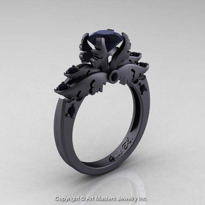 Clic Angel 14k Matte Black Gold 1 0 Ct Diamond Solitaire Engagement Ring R482 14kmbgbd