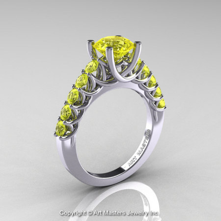 Classic 14K White Gold 1.0 Ct Yellow Sapphire Cluster Solitaire Ring R258-14KWGYS-1