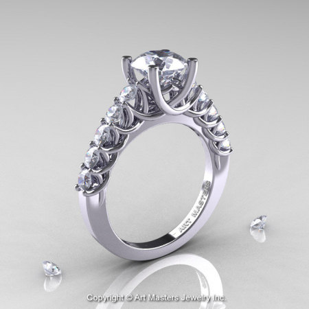 Classic 14K White Gold 1.0 Ct White Sapphire Cluster Solitaire Ring R258-14KWGWS-1