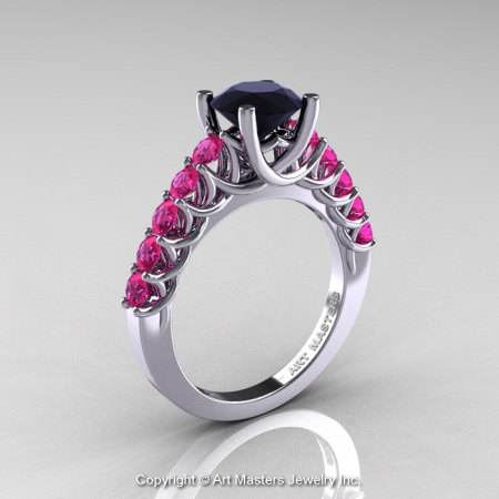 Classic 14K White Gold 1.0 Ct Black Diamond Pink Sapphire Cluster Solitaire Ring R258-14KWGPSBD-1