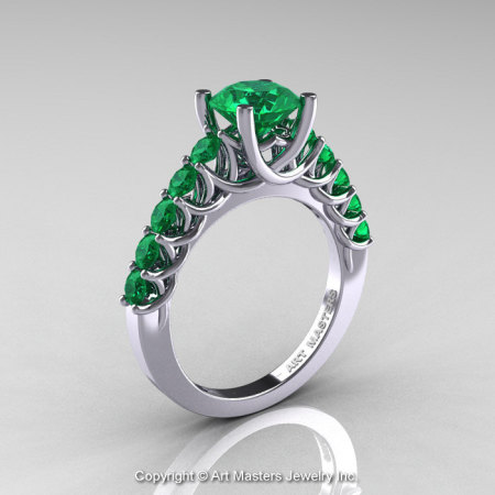 Classic 14K White Gold 1.0 Ct Emerald Cluster Solitaire Ring R258-14KWGEM-1