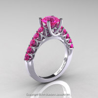 Classic 14K White Gold 1.0 Ct Pink Sapphire Cluster Solitaire Ring R258-14KWGPS-1