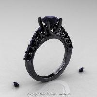 Classic 14K Black Gold 1.0 Ct Black Diamond Cluster Designer Solitaire Ring R258-14KBGBD-1