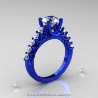 Exclusive Classic 14K Blue Gold 1.0 Ct Diamond Cluster Designer Solitaire Ring R258-14KBGD-1