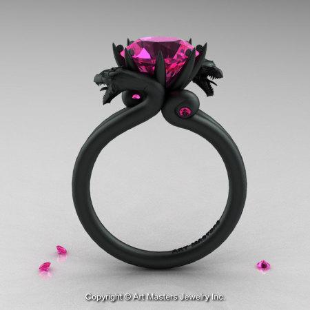 Modern Dragon 14K Matte Black Gold 3.0 Ct Pink Sapphire Engagement Ring R601-14KMBPS-1
