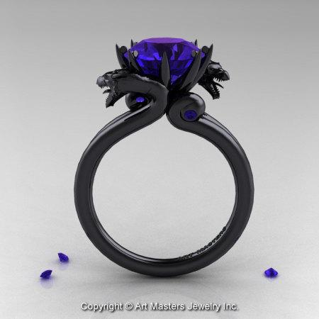 Modern Dragon 14K Black Gold 3.0 Ct Tanzanite Designer Engagement Ring R601-14KBGTA-1