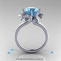 Art Masters 14K White Gold 3.0 Ct Aquamarine Dragon Engagement Ring R601-14KWGAQ-1