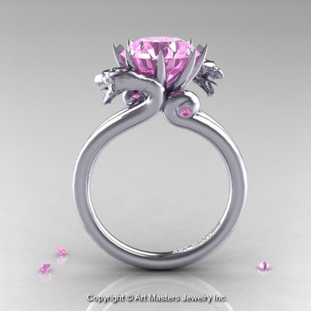 Art Masters 14K White Gold 3.0 Ct Light Pink Sapphire Dragon Engagement Ring R601-14KWGLPS-1