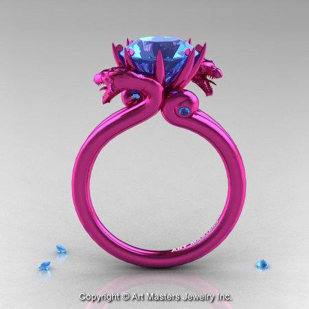 Modern Dragon 14K Fuchsia Pink Gold 3.0 Ct Aquamarine Designer Engagement Ring R601-14KPGAQ-1