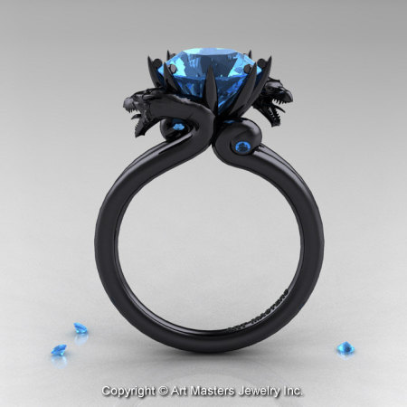 Art Masters 14K Black Gold 3.0 Ct Aquamarine Dragon Engagement Ring R601-14KBGAQ-1