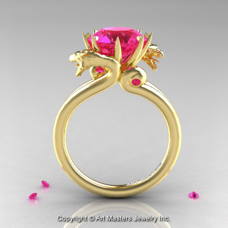 Art Masters 18K Yellow Gold 3.0 Ct Pink Sapphire Dragon Engagement Ring R601-18KYGPS-1