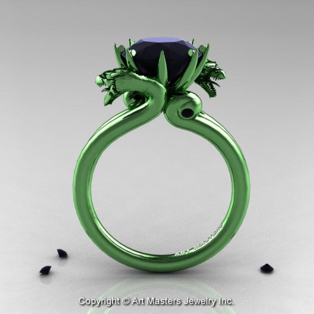Art Masters 14K Green Gold 3.0 Ct Black Diamond Military Dragon Engagement Ring R601-14KGGBD-1