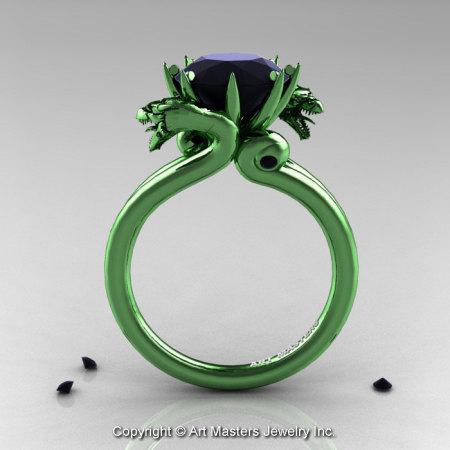 Art Masters 14K Green Gold 3.0 Ct Black Diamond Military Dragon Engagement Ring R601-14KGGBD-1