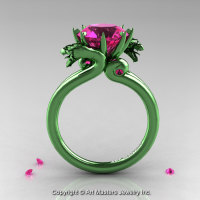 Art Masters 14K Green Gold 3.0 Ct Pink Sapphire Military Dragon Engagement Ring R601-14KGGPS-1