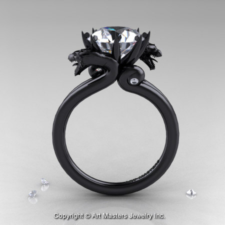Art Masters 14K Black Gold 3.0 Ct White Sapphire Diamond Dragon Engagement Ring R601-14KBGDWS-1