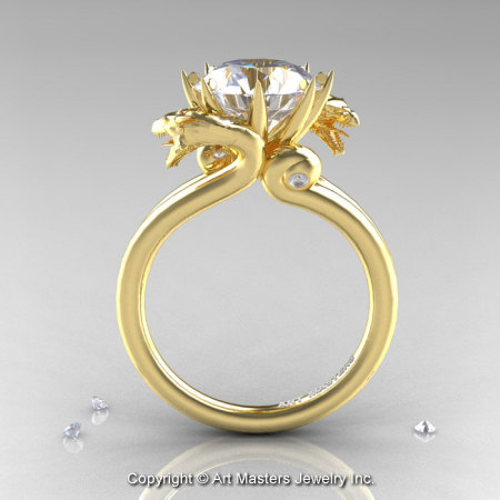 Art Masters 18K Yellow Gold 3.0 Ct White Sapphire Dragon Engagement Ring R601-18KYGWS-1