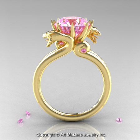Art Masters 18K Yellow Gold 3.0 Ct Light Pink Sapphire Dragon Engagement Ring R601-18KYGLPS-1
