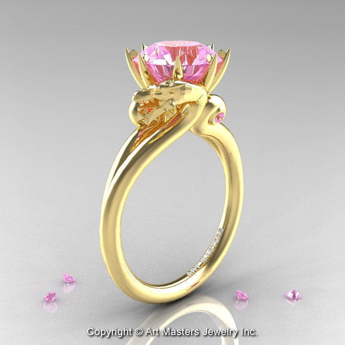 Art Masters 18K Yellow Gold 30 Ct Light Pink Sapphire Dragon