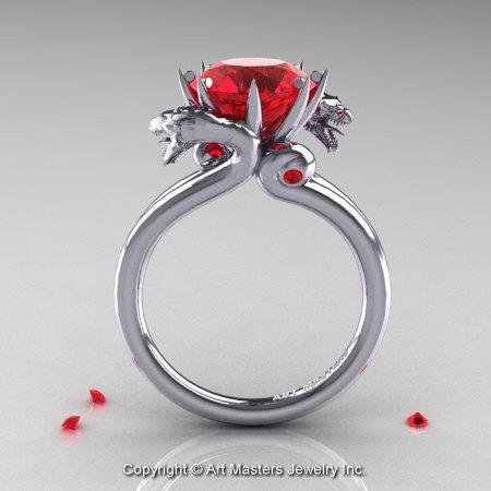 Art Masters 14K White Gold 3.0 Ct Rubies Designer Engagement Ring R601-14KWGR-1