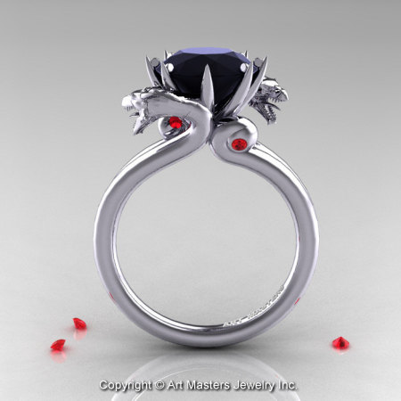 Art Masters 14K White Gold 3.0 Ct Black Diamond Ruby Dragon Engagement Ring R601-14KWGBDR-1
