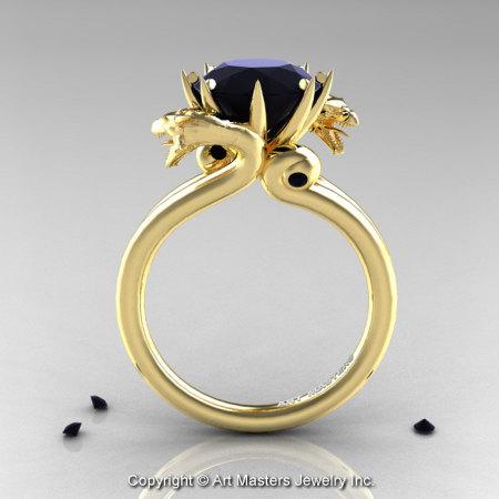 Art Masters 14K Yellow Gold 3.0 Ct Black Diamond Dragon Engagement Ring R601-14KYGBD-1