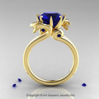 Art Masters 18K Yellow Gold 3.0 Ct Blue Sapphire Dragon Engagement Ring R601-18KYGBS-1