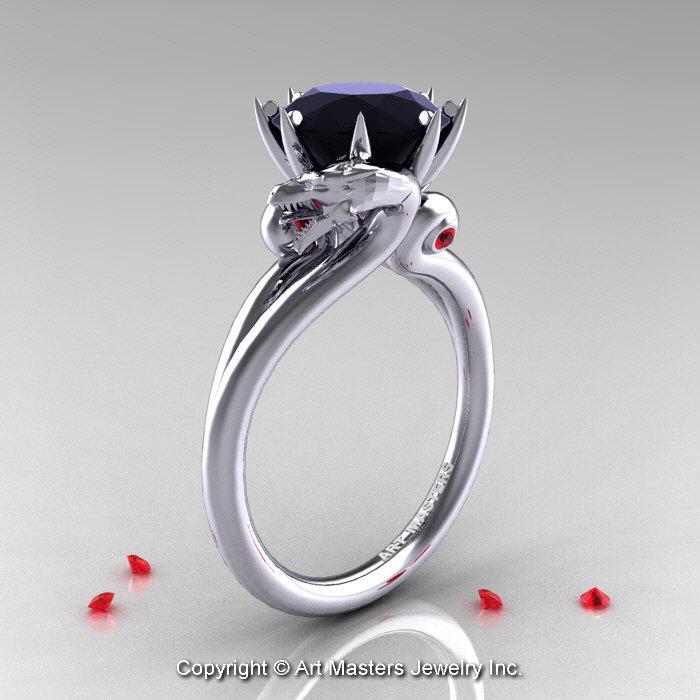 Art Masters 14K White Gold 3 0 Ct Black Diamond Ruby Dragon Engagement Ring R
