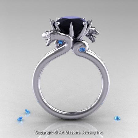 Art Masters 14K White Gold 3.0 Ct Black Diamond Blue Topaz Dragon Engagement Ring R601-14KWGBTBD-1