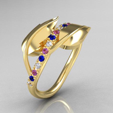 18K Yellow Gold Diamond Blue Sapphire Amethyst Leaf and Vine Wedding Ring Engagement Ring NN113-18KYGDBSAM-1