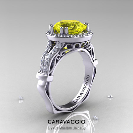 Caravaggio 14K White Gold 3.0 Ct Yellow Sapphire Diamond Engagement Ring Wedding Ring R620-14KWGDYS-1
