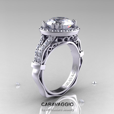 Caravaggio 14K White Gold 3.0 Ct White Sapphire Diamond Engagement Ring Wedding Ring R620-14KWGDWS-1