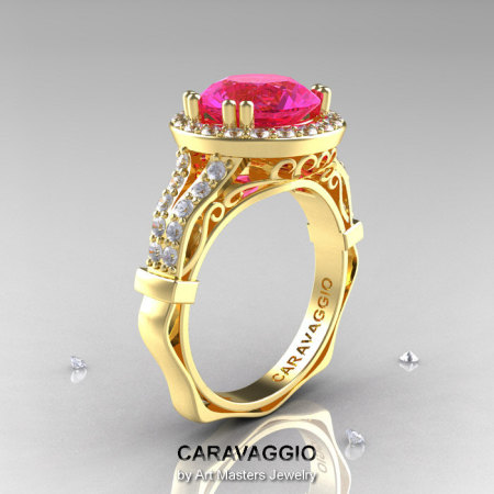 Caravaggio 14K Yellow Gold 3.0 Ct Pink Sapphire Diamond Engagement Ring Wedding Ring R620-14KYGDPS-1