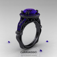 Caravaggio 14K Black Gold 3.0 Ct Tanzanite Engagement Ring Wedding Ring R620-14KBGTA-1