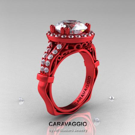 Caravaggio 14K Red Gold 3.0 Ct White Sapphire Diamond Engagement Ring Wedding Ring R620-14KRGDWS-1