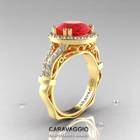 Caravaggio 14K Yellow Gold 3.0 Ct Ruby Diamond Engagement Ring Wedding Ring R620-14KYGDR-1