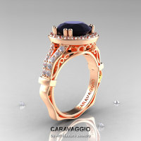 Caravaggio 14K Rose Gold 3.0 Ct Black and White Diamond Engagement Ring Wedding Ring R620-14KRGDBD-1