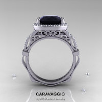 Caravaggio 14K White Gold 3.0 Ct Black and White Diamond Engagement Ring Wedding Ring R620-14KWGDBD-1