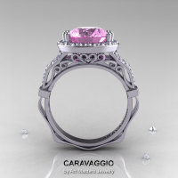 Caravaggio 14K White Gold 3.0 Ct Light Pink Sapphire Diamond Engagement Ring Wedding Ring R620-14KWGDLPS-1