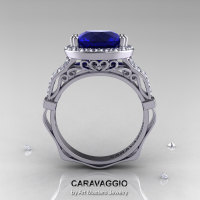 Caravaggio 14K White Gold 3.0 Ct Blue Sapphire Diamond Engagement Ring Wedding Ring R620-14KWGDBS-1