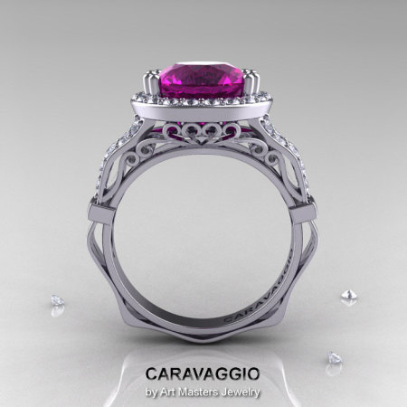 Caravaggio 14K White Gold 3.0 Ct Amethyst Diamond Engagement Ring Wedding Ring R620-14KWGDAM-1