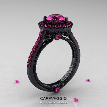 Caravaggio 14K Black Gold 1.0 Ct Pink Sapphire Engagement Ring Wedding Ring R621-14KBGBPS-1