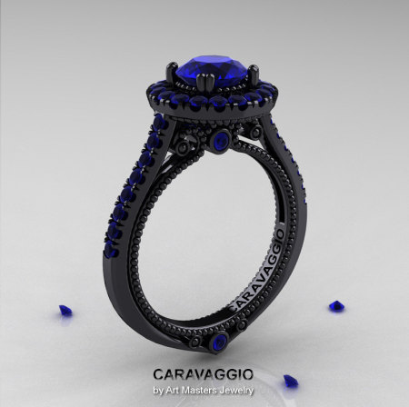 Caravaggio 14K Black Gold 1.0 Ct Blue Sapphire Engagement Ring Wedding Ring R621-14KBGBS-1
