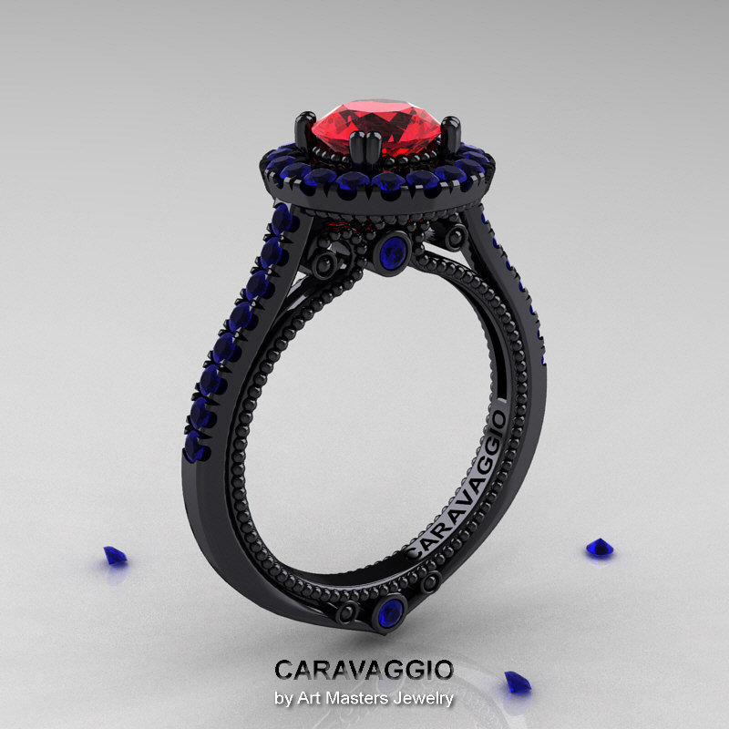 Caravaggio 14K Black Gold 1 0 Ct Ruby Blue Sapphire Engagement Ring Wedding R