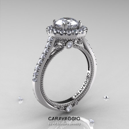 Caravaggio 14K White Gold 1.0 Ct White Sapphire Diamond Engagement Ring Wedding Ring R621-14KWGDWS-1
